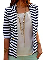 Lucky again-uk Women's Striped Slim Business Blazer Suit Jacket Coat XS As picture