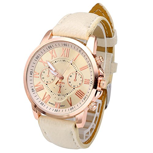 JSDDE Uhren,Neue Damenmode Genf römischen Ziffern-Leder Analog Quarz Armbanduhren(Beige) - 2