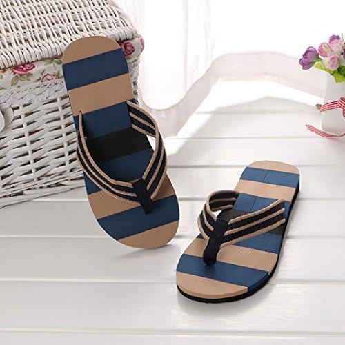 Casual Flache Ferse (Flip-Flops, Sonnena Men Summer Shoes Mixed Colors Sandals Male Slipper Indoor Or Outdoor Flip Flops Mischfarben / Flach mit Ferse / Round Toe / Slides / Open Side Vamp Art (Sexy Blau, 43))