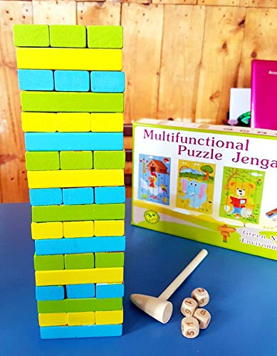 Toy Park Multifunctional 2 in 1 Wooden Puzzle Jenga with 4 Dices and Hammer and Domino Educational Toy (54 Pcs.)