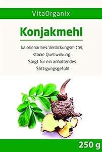 Konjakmehl Konjakwurzel getrocknet, gemahlen (Amorphophallus konjac, Teufelszunge), 250g hohe Quellfähigkeit / Viskosität 36000 cps - Selbst Konjaknudeln machen! - Glutenfrei - Vegan