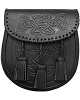 Tartanista Kiltsporran/3 Troddeln - Keltisches Muster /inkl. Gürtel - Schwarz