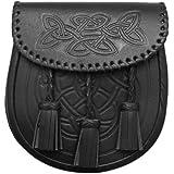 Tartanista - Sporran y cinturón de hombre para kilt escocés - Diseño celta con 3 borlas - Negro