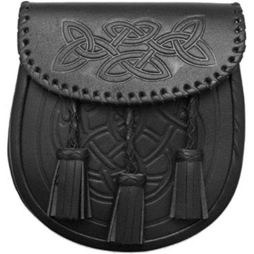 Tartanista - Herren Sporran für den Alltag - Schwarz - mit keltischen Motiven & 3 Troddeln