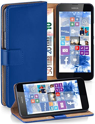 moex Nokia Lumia 630 | Hülle Blau mit Karten-Fach 360° Book Klapp-Hülle Handytasche Kunst-Leder Handyhülle für Nokia Lumia 630/635 Dual SIM Case Flip Cover Schutzhülle Tasche