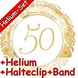 Folienballon Set * 50 JAHRE GOLD + HELIUM FÜLLUNG + HALTE CLIP + BAND * // Aufgeblasen mit Ballongas // Deko Geburtstag Folien Ballon Luftballon fünfzig goldene Hochzeit Jubiläum