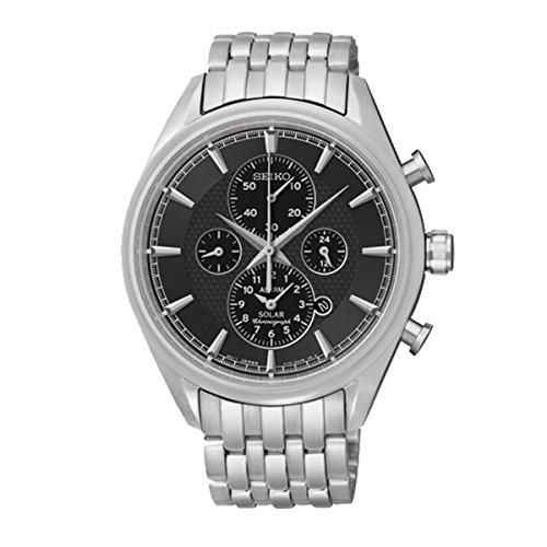 Seiko–Ssc211p1–Solar–Armbanduhr–Automatik Chronograph–Zifferblatt schwarz Armband Stahl Grau