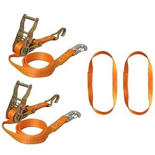 Bike-Lashing-Set Braun Motorrad Vorderradverzurrung, Zurrgurtset 6-teilig mit Spitzhaken und Karabinerhaken, inklusive Endlosschlingen, Gurtfarbe orange. Artikel Nr.: 750-6-FRONT