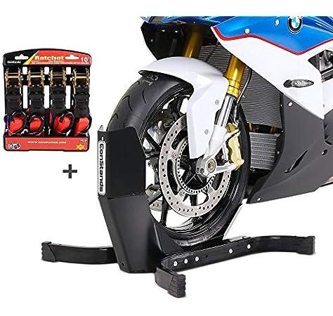 Constands Easy Plus Motorradwippe Inklusive 4 Fach Spanngurt Set Für Anhänger Zurrschlaufen Radhalter Radklemme Auto