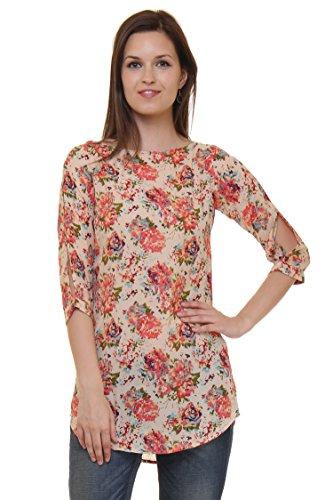 Ruhaan's Women's Georgette Beige Color Floral Printed Tunic (RU_5199_S)