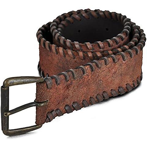 Cinturón Listos para la Batalla -Ante- Para juegos de rol en vivo y disfraz - 85cm hebilla de metal-color marrón