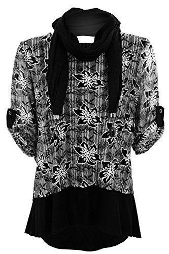 Fantasia Boutique pour femmes manche revers floral dos fendu SUPERPOSITION doublé haut bas perle écharpe haut Noir / Blanc