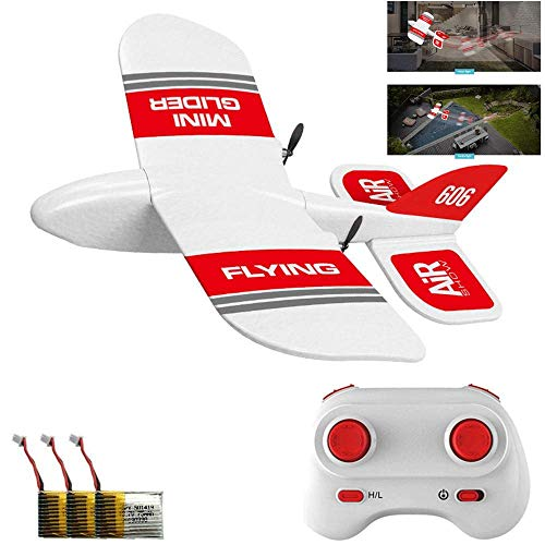 DokFin Remote Control Airplane, KF600 7 Inch EPP Foam Material RTF Glider Plane with 2.4GHz Receiver & Built-in Gyro System, Rechargeable Mini RC Airplane Toy for Kids Adults Indoors/Outdoors (Remote Kit Control Airplane)