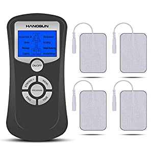 Hangsun Electroestimulador Muscular TM50 Masajeador TENS EMS Electro Estimulador de Acupuntura para el manejo del dolor y rehabilitación con 8 Modos y 4 almohadillas
