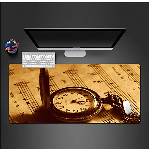 Sxkdyax Mauspad Nostalgische Taschenuhr Mauspad Vorhängeschloss waschbar Rand PC Mauspad Set-90CMX40CM
