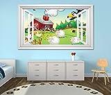 3D Wandtattoo Bauernhof Tiere Kinderzimmer Schaf Ente selbstklebend Wandbild sticker Wohnzimmer Wand Aufkleber 11K783, Wandbild Größe F:ca. 140cmx82cm
