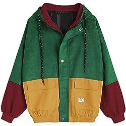 Femmes à Manches Longues en Velours côtelé Patchwork Veste Oversize Manteau Coupe-Vent