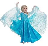 Vestito Frozen Bambina Dress Carnevale Costume Bimba childen Blu 510 (130 - 4/5 anni)