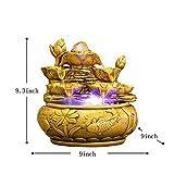 Skulpturen Tischbrunnen,Tischplatte dekorativ Schatz Topf Wasser Dekoration Lotus-brunnen Feng Shui Rad zu rekrutieren Indoor Umschlag Kugel Haushalt Dekorationen Business-Geschenke-golden 9.3Zoll