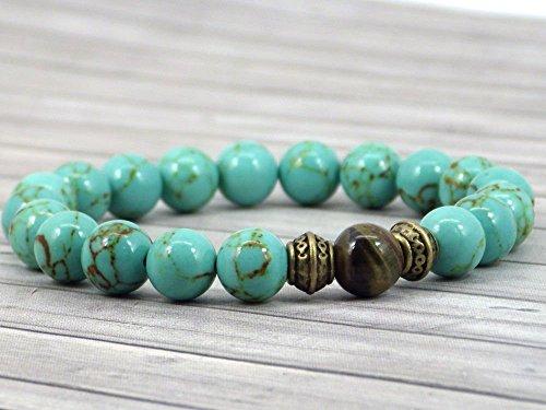 Herren Thurcolas Armband aus rekonstituiertem Türkis und Tigerauge Perlen (Herren Modische Armband)
