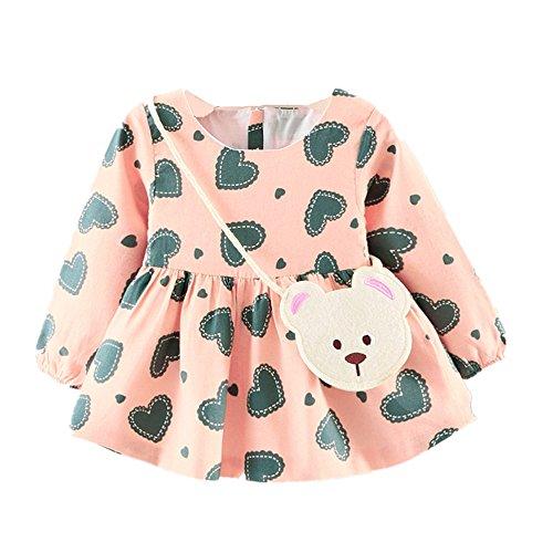 ZIYOU Kleider Niedlich Baby Mädchen Drucken Prinzessin Dress + Kleine Tasche (18M, Rosa) (Drucken Marine-blau-jersey)