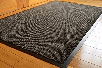 Big Extra Large Grey And Black Barrier Mat Rubber Edged Heavy Duty Non Slip Kitchen Entrance Hall Runner Rug Mats 120x180cm (6x4ft) - low-cost UK rug store.