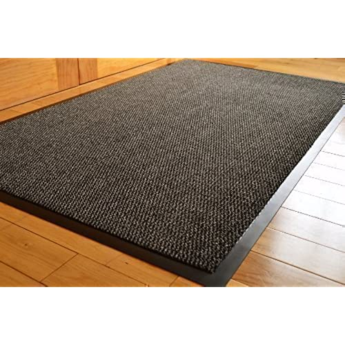 BIG EXTRA LARGE GREY AND BLACK BARRIER MAT RUBBER EDGED HEAVY DUTY NON SLIP  KITCHEN ENTRANCE HALL RUNNER RUG MATS 120X180CM (6X4FT)