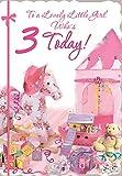 Cards Galore Online Alter 3Mädchen Geburtstag Karte–Rosa Zelt, Schaukelpferd, Spielzeug & Geschenk 19,1x 13,3cm