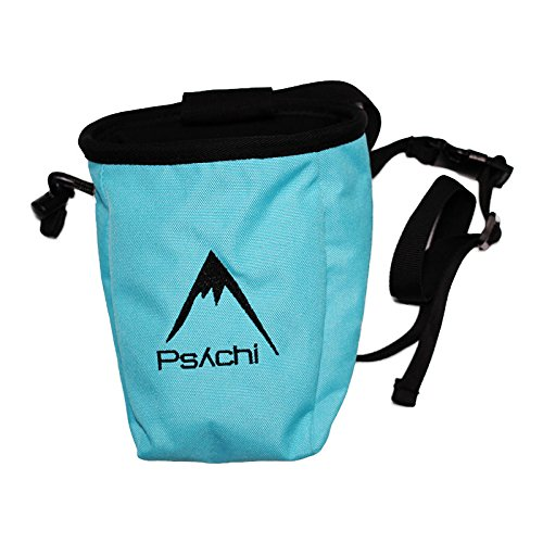 Psychi Chalk Bag for Rock Climbing with Rear Zip and Waist Belt (Blue)