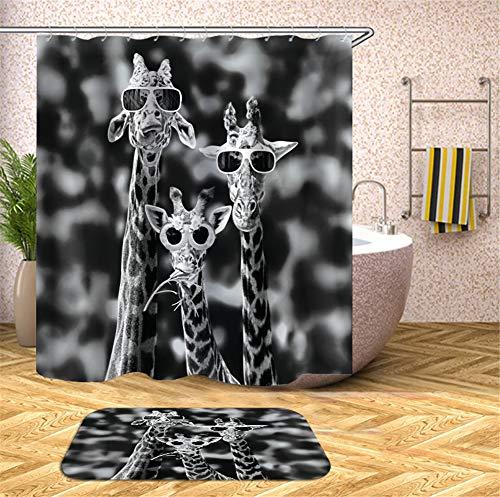 Kwboo DREI Giraffen Tragen Eine Sonnenbrille. Ich Schaue Nach Vorne. Duschvorhang. Wasserdicht. 180X180Cm. Teppich. Plus Samt. 40X60Cm.