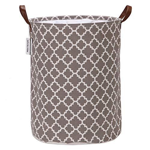 Marokkanisches Gittermuster Wäschesammler Leinenstoff Wäschekorb Faltbarer Aufbewahrungskorb mit PU-Ledergriffen und Kordelzug-Verschluss, wasserdichte Innenseite, Textil, Lattice/Grey, 17.7