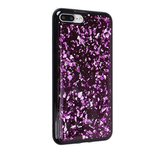 iPhone 7 Plus/8 Plus Schale Glitter Case, iPhone 7 Plus Glitter Case, iPhone 8 Plus Glitter Case, Moon mood® Ultra Slim Thin 3D Bling Strass Hülle Gliter Handytasche Kristall Schutzhülle für Apple iPh Lila