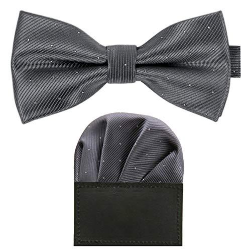 GASSANI GASSANI 2Tlg Fliegenset, Festliche Dunkel-Graue Herren-Fliege Silber Gepunktet, Hochzeitsfliege Anzug-Schleife Vor-Gebunden Ein-Stecktuch Vorgefaltet