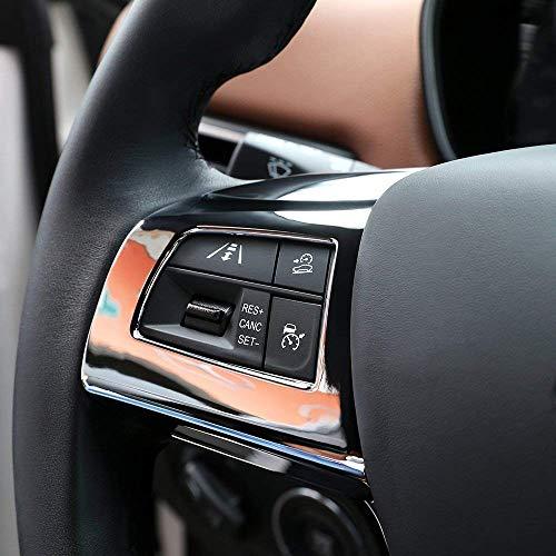 Garniture de Couvercle de Cadre de Bouton de Volant en Plastique ABS pour Levante Ghibli Quattroporte, Chrome, Argent