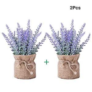 YAPASPT 2 piezas Arpillera En conserva Lavanda Flores – Artificial Flor falsa Planta Flocado Encantador Púrpura para…