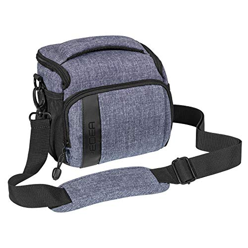 PEDEA SLR-Kameratasche Umhängetasche mit Displayschutz für Nikon D500, D750, D3500, D5200, D300 Coolpix B500 / Sony Alpha 7, 7M2 7M3, 7R II, DSC-RX10 / Canon EOS 77D, 200D, 1200D, 1300D, (L) grau