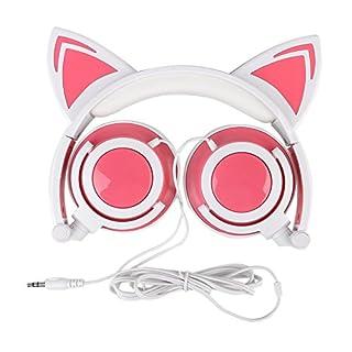 AOUTOS Katze Kopfhörer, Wiederaufladbare niedliche Katze Ohr Kopfhörer mit LED blinkt glühende Lichter faltbar über Ohr Cos-Play Fancy Headsets (Rosa)