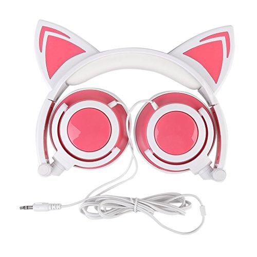 Nette Katzenohr-Kopfhörer, Katze Ohr Kopfhörer, faltbares über-Ohr, Katze Ohr Kopfhörer, Spiel-Kopfhörer mit LED-Licht, Art und Weise glühender Cosplay Kopfhörer, kompatibel für iPhone / Android Telefon / Computer / PAD etc. (Rosa)
