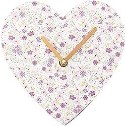 Reloj de pared con forma de corazón Florella flores funciona con pilas reloj