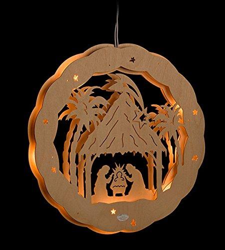 ERM Holzmanufaktur 3D Fensterbild Christi Geburt beleuchtetes Fensterbild aus Holz Weihnachtsdeko Weihnachten