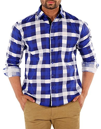 Mark Pollo London Men's Linen Slim Fit Party Wear/Casual/Formal Shirt -Check Blue (Pack of 1)  available at amazon for Rs.349