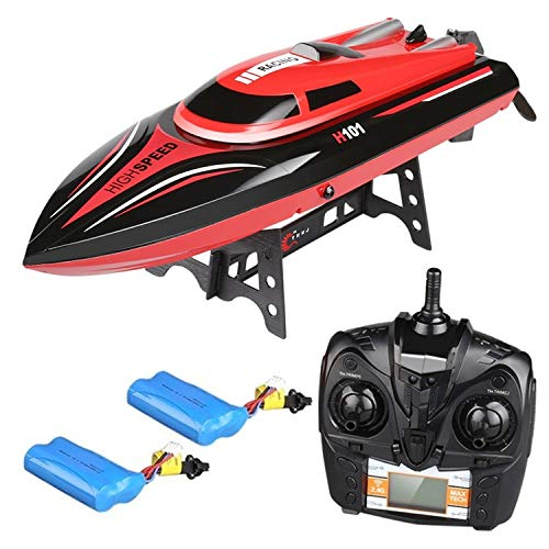 Virhuck 2.4GHz RC Boot mit 2 x 7.4V Batterien, 180 ° Leichter Schlag, Niederspannungswarnung, elektrisch Rennboot für Kinder und Erwachsene. (H101)