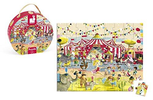 Janod- Puzzle 54 Pezzi in Valigetta Rotonda, Circo, J02874