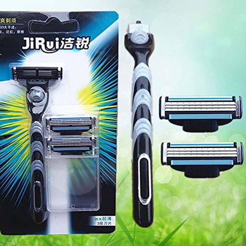 Herren-Handrasierer Dreischichtiger Rasierapparat 1 Griff 3-Messer-Set Herren-Bartmesser-Rasiermesser-Werkzeug Herrenrasierapparat - Schwarz