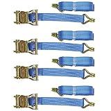 4Pack–robust, 35mm PROFESSIONAL mit Ratsche–6m–2Tonne Breaking Force für Zurrgurt Lasten bis zu 1Tonne