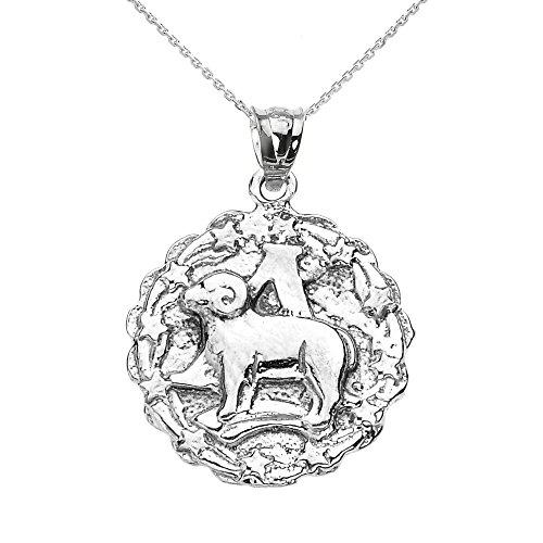 Donne Collana Pendente Argento Sterling 925 Ariete Aprile Zodiaco Simbolo Tondo (Viene Fornito Con Una Catena Da