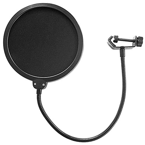 SYGA Dual Layer Nylon Studio Microphone Pop Filter/Blocker with Adjustable Gooseneck and Clamp