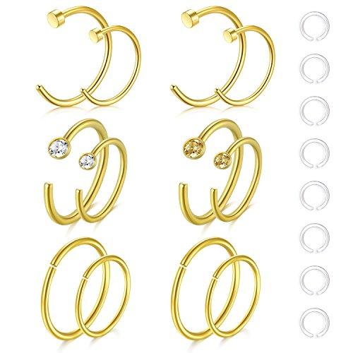 Zolure 8mm 10mm 20 Gauge Gold Nasenringe Nase Hoop Ringe Nase Piercings Chirurgenstahl Körper Schmuck 12pcs mit Clear Nasenstecker Retainers