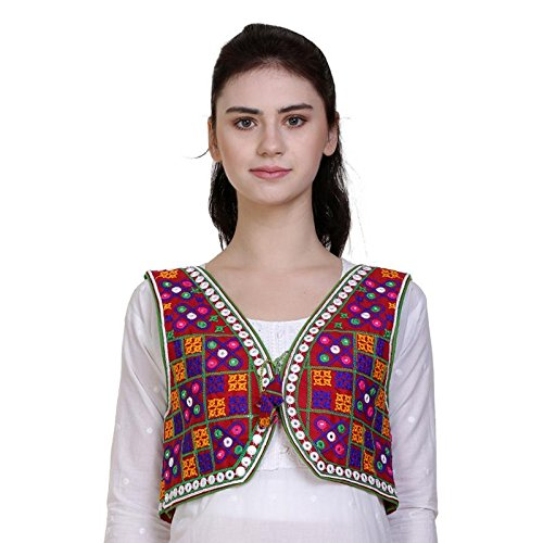 Vastraa Fusion Women's Cotton Ethnic Embroidered Kutch Work Jacket / Shrug /...