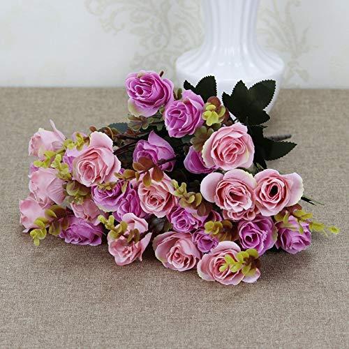 Plark 3 Pack Hochwertige Europäische Simulation Blume Großhandel Herbst Rose Hause Blumenkünstler Gefälschte Blumendekoration (Nicht Enthalten Töpfe)